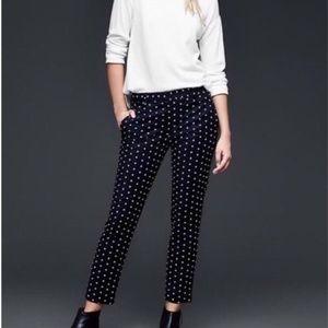 Gap Slim Cropped Polka Dot Pants size 8 Navy White